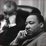 Former US president Lyndon Johnson & Martin Luther King.
