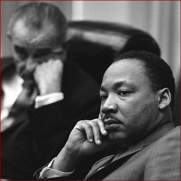 Former US president Lyndon Johnson & Martin Luther King photo