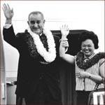 Former US president Lyndon Johnson & Patsy Takemoto Mink.