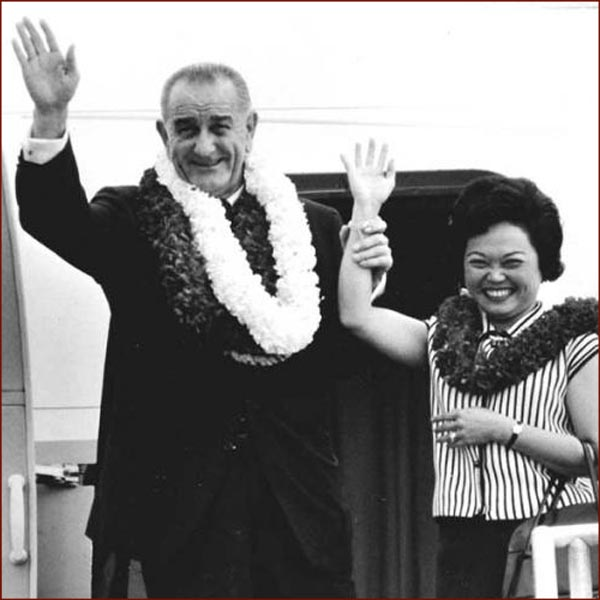 Former US president Lyndon Johnson & Patsy Takemoto Mink right hand waving photo