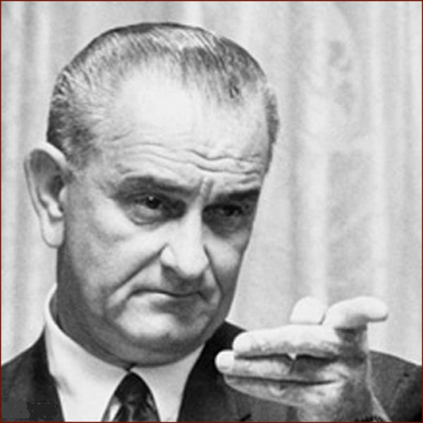 Former US president Lyndon Johnson: pointing finger.