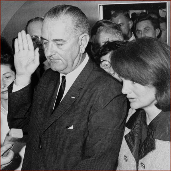 Former US president Lyndon Johnson: right hand inauguration.