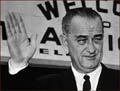 Former US president Lyndon John: right hand inauguration photo.