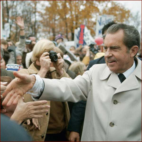 Former US president Richard Nixon: right hand shake photo