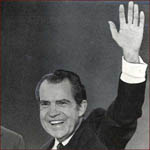 Former US president Richard Nixon: left hand waving