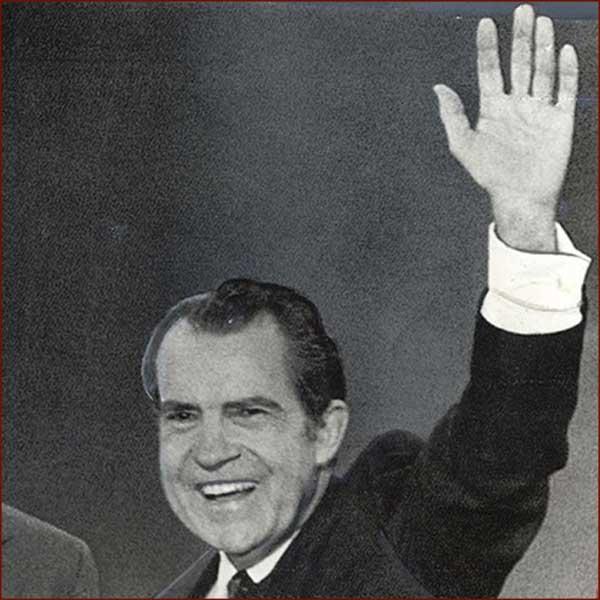 Former US president Richard Nixon: left hand waving photo