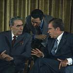 Former US president Richard Nixon & former Russian president Leonid Brezhnev.