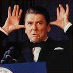 Former US president Ronald Reagan: funny hand gestures.