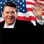 Former US president Ronald Reagan: left hand waving.