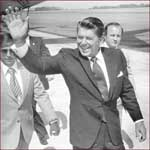 Former US president Ronald Reagan: right hand gesture.
