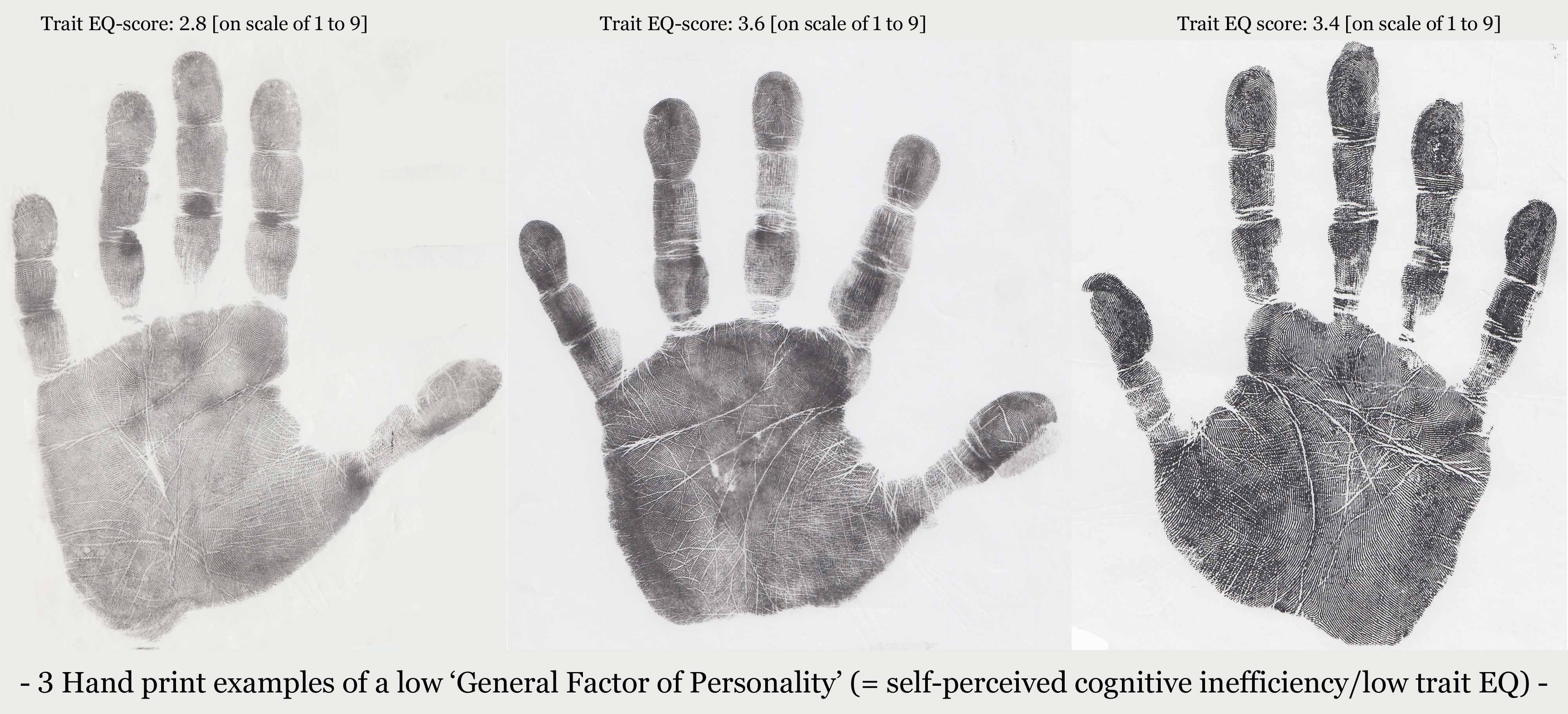 3 Hand print examples of a low 'General Factor of Personality' (= self-perceived cognitive inefficiency / low trait EQ)