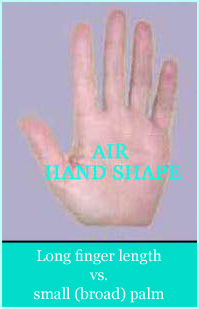 Air hand shape: 0,8425 < finger index < 0,8675 (= long finger length with small (broad) palm).