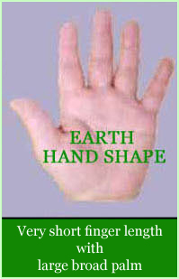 Earth hand shape: very short finger length with large broad palm.