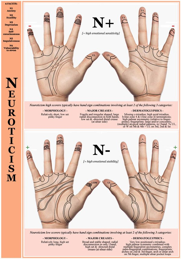 Hand chart for the Big Five dimension Neuroticism - 6 facets: N1 Anxiety, N2 Hostility, N3 Depression, N4 Self-consciousness, N5 Impulsiveness, N6 Vulnerability to stress.