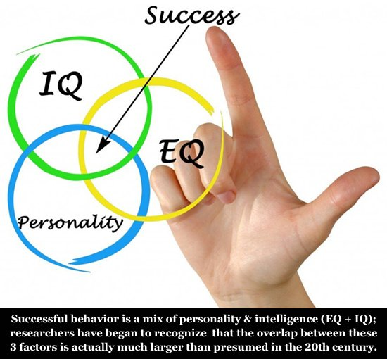 Successful behavior can be described to represent a mix of personality, EQ and IQ.