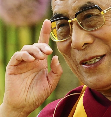 The hands of the 14th Dalai Lama.