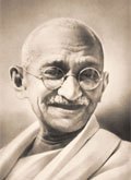 Mahatma Gandhi, spiritual leader of India.
