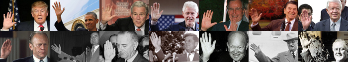 The hands of 14 US presidents