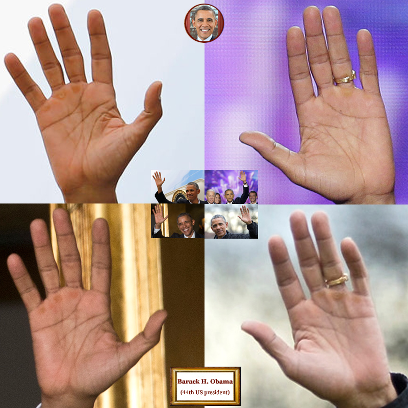 44Th US president Barack Obama: 4 hand impressions.