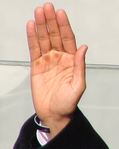 Barack Obama's right hand during the inauguration oath.