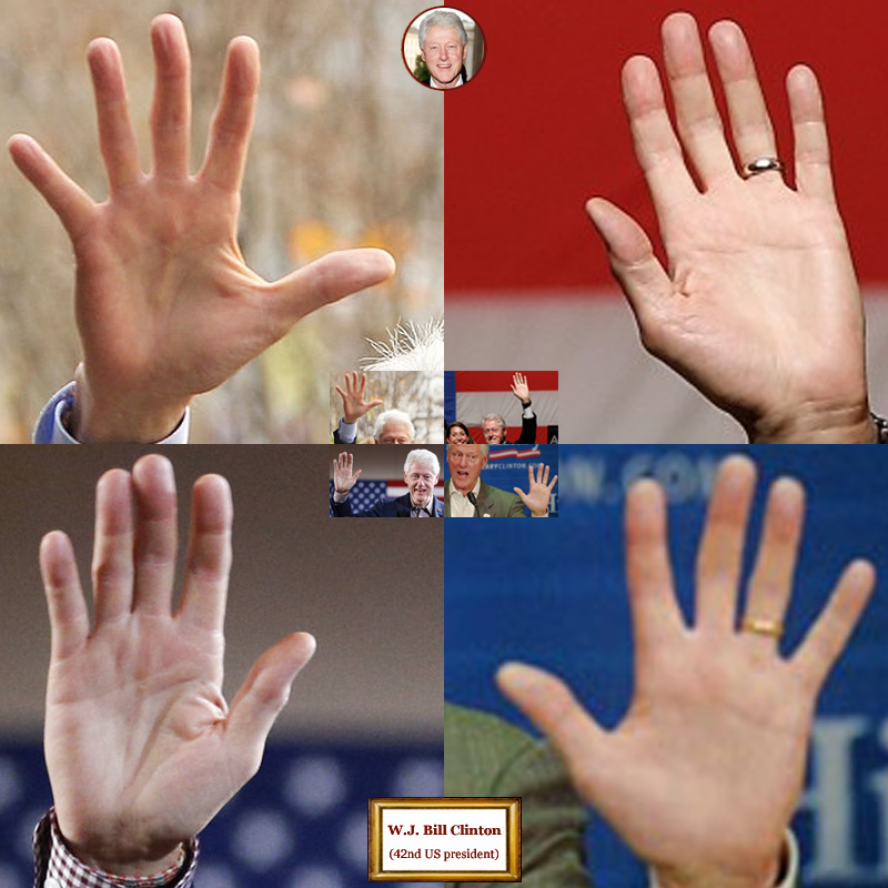 42Th US president Bill Clinton: 4 hand impressions.