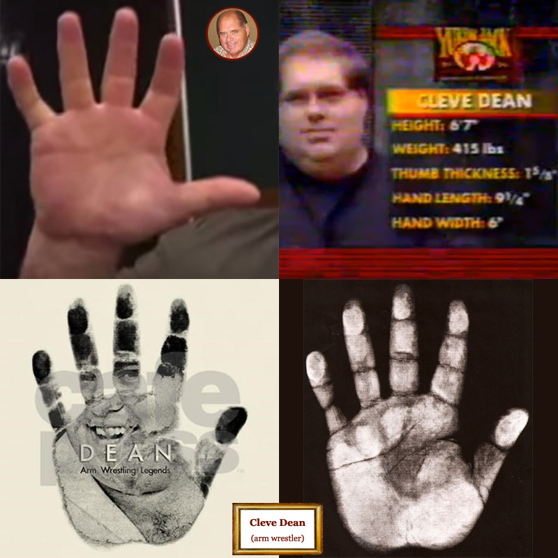The hands of US arm wrestler Cleave Dean: photo impressions + hand print.
