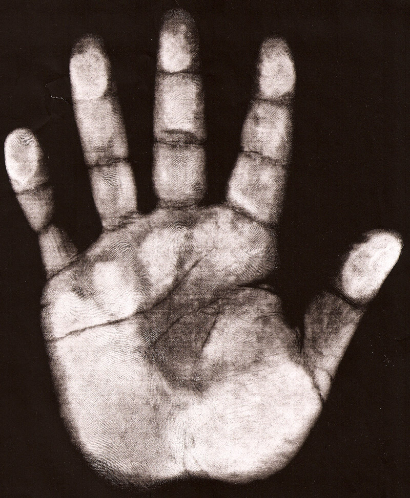 US arm wrestler Cleave Dean: hand print (right hand).