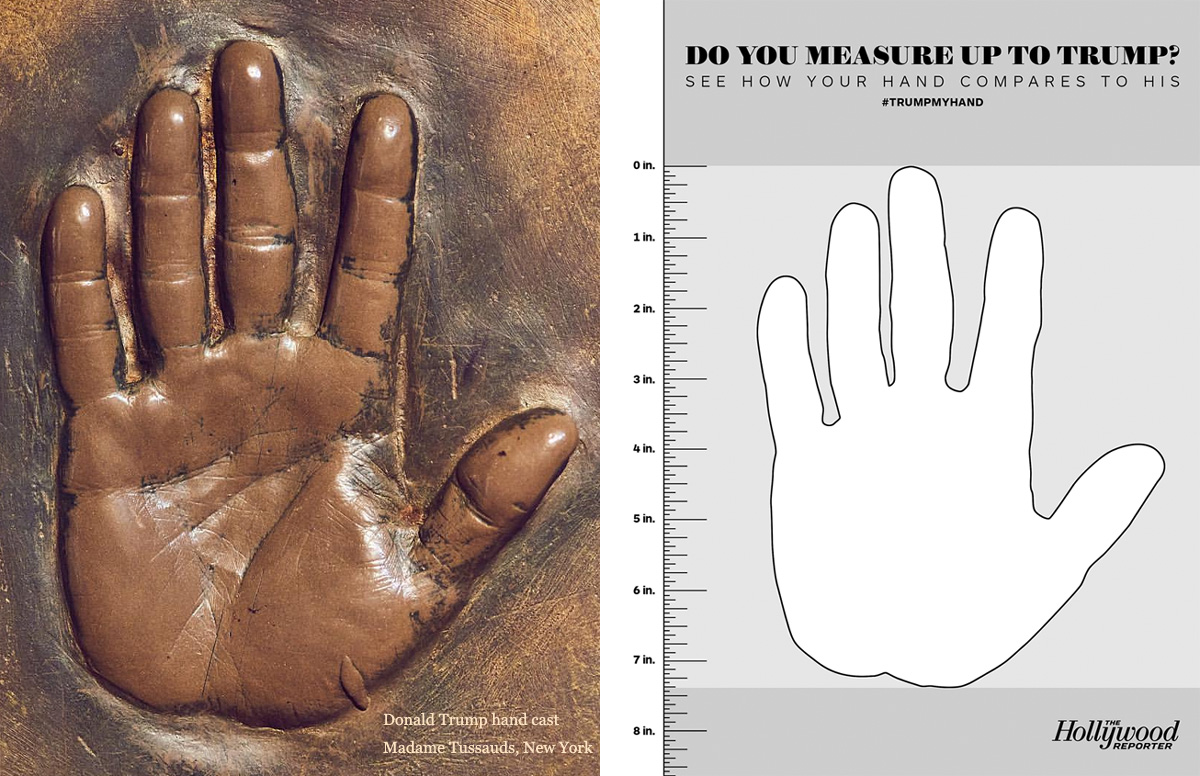 Donald Trump hand size assessment based on hand cast - The Hollywood Reporter