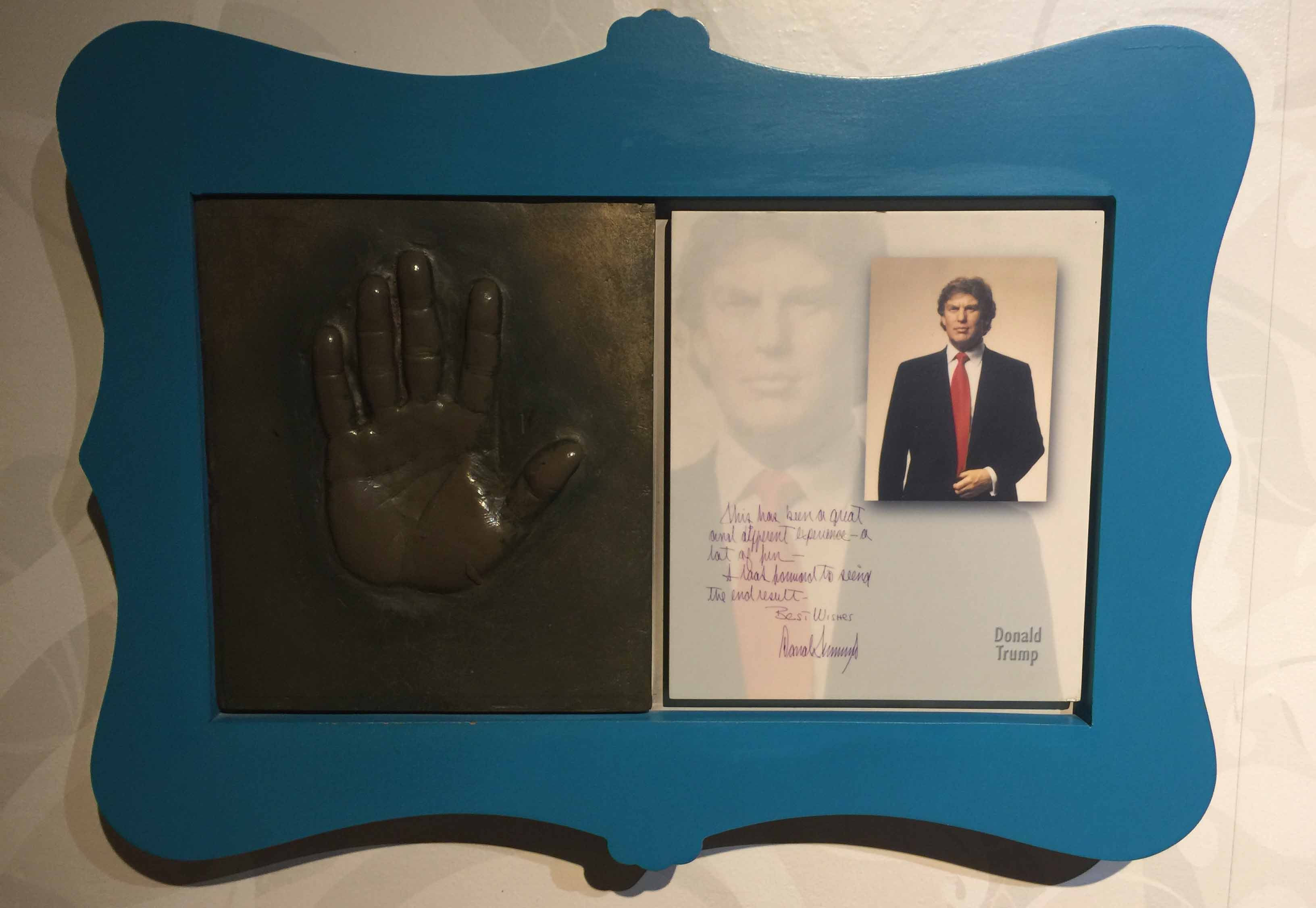 US president Donald Trump: hand prints.