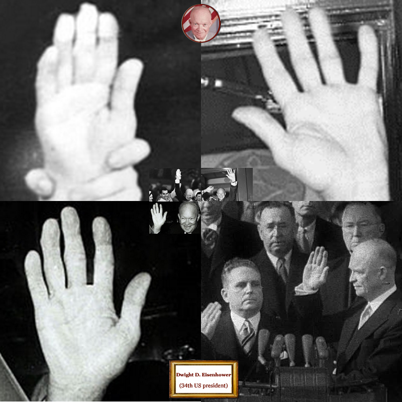 34th US president Dwight Eisenhower: hand shape impressions.
