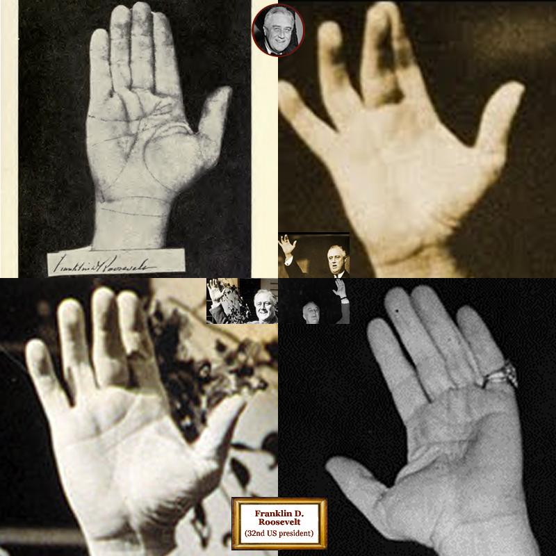 32nd US president Franklin Roosevelt: hand shape impressions.