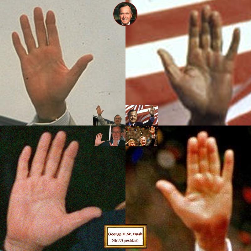 41st US president George H.W. Bush: hand shape impressions.