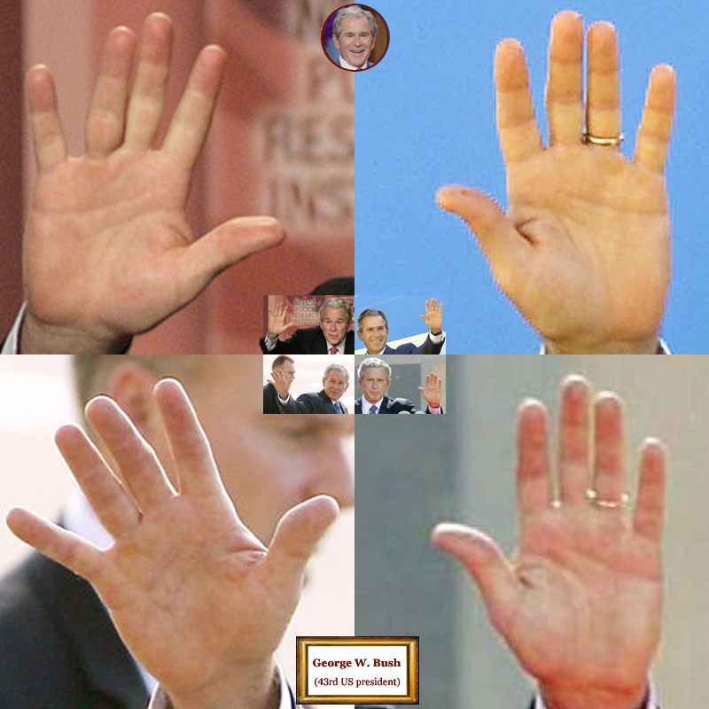 43Th US president George W. Bush: 4 hand impressions.