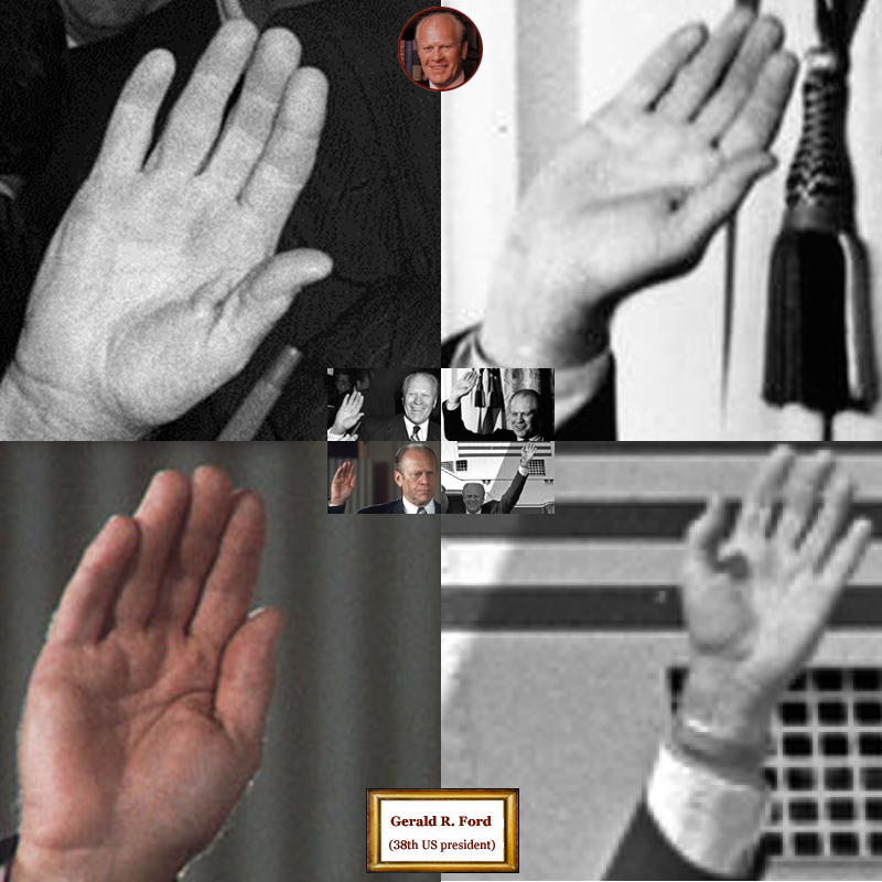 38th US president Gerald Ford: hand shape impressions.