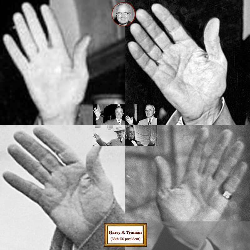 33rd US president Harry Truman: hand shape impressions.