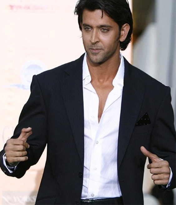 Hrithik Roshan thumb sideview with black suit.