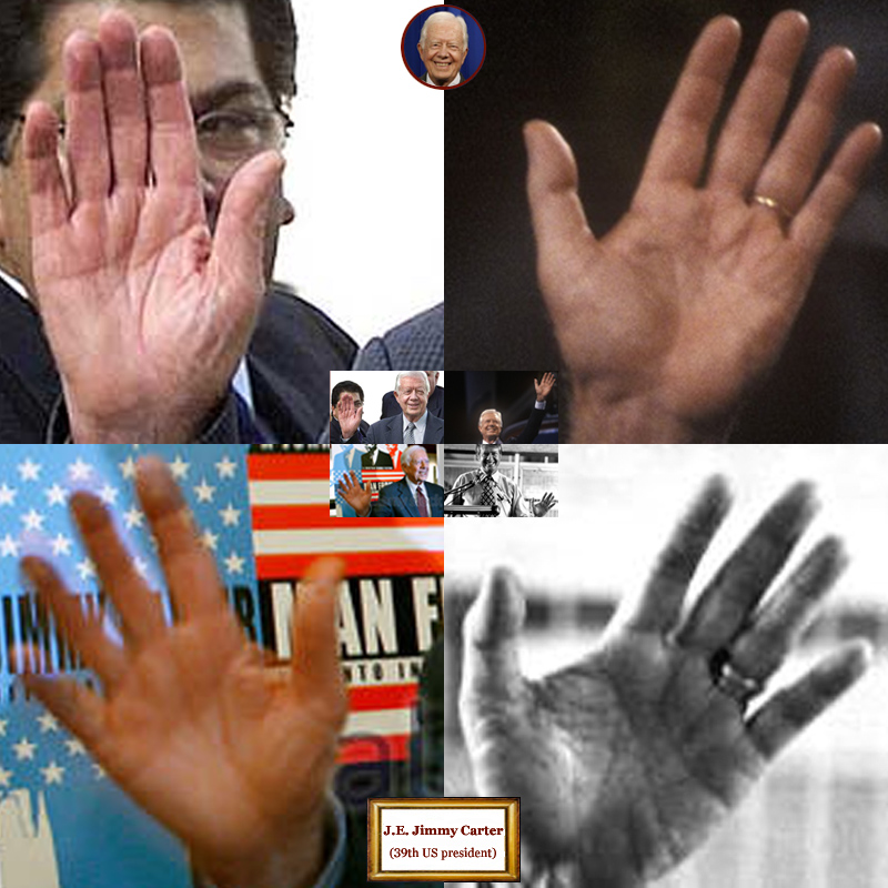 39Th US president Jimmy Carter: 4 hand impressions.
