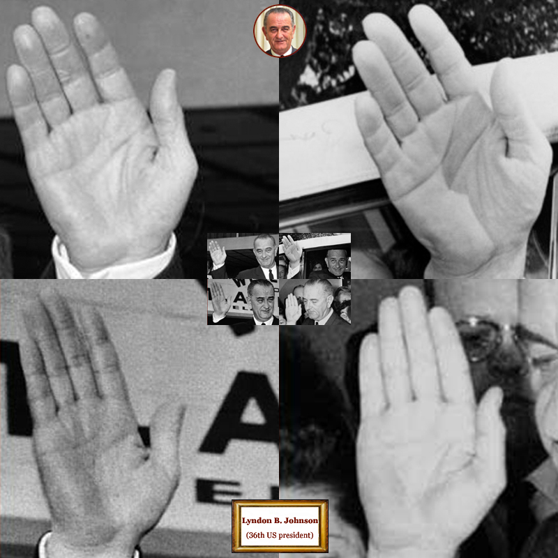 36Th US president Lyndon Johnson: 4 hand impressions.