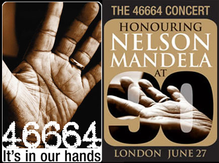 Nelson Mandela's hand were featured in the 46664 project.