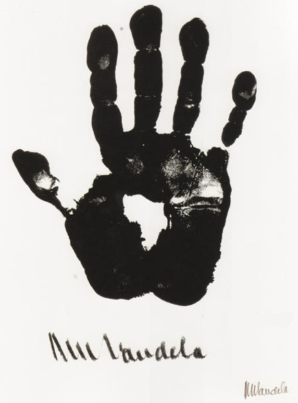 Nelson Mandela's hand print (became associated with shape of continent Africa).
