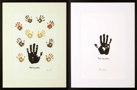 Nelson Mandela hand art - various handprints.