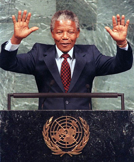Nelson Mandela welcomed at United Nations meeting.