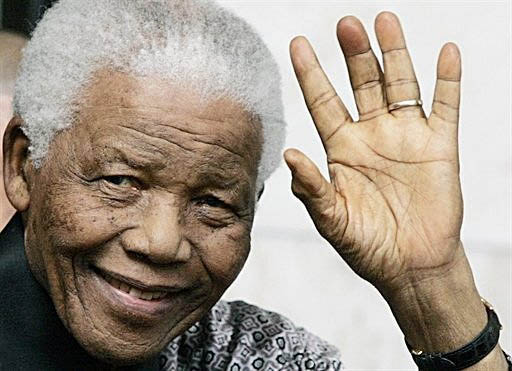 Nelson Mandela's left hand.