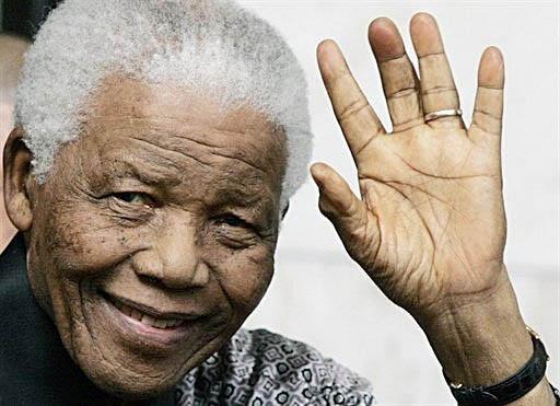 The hand of Nelson Mandela.