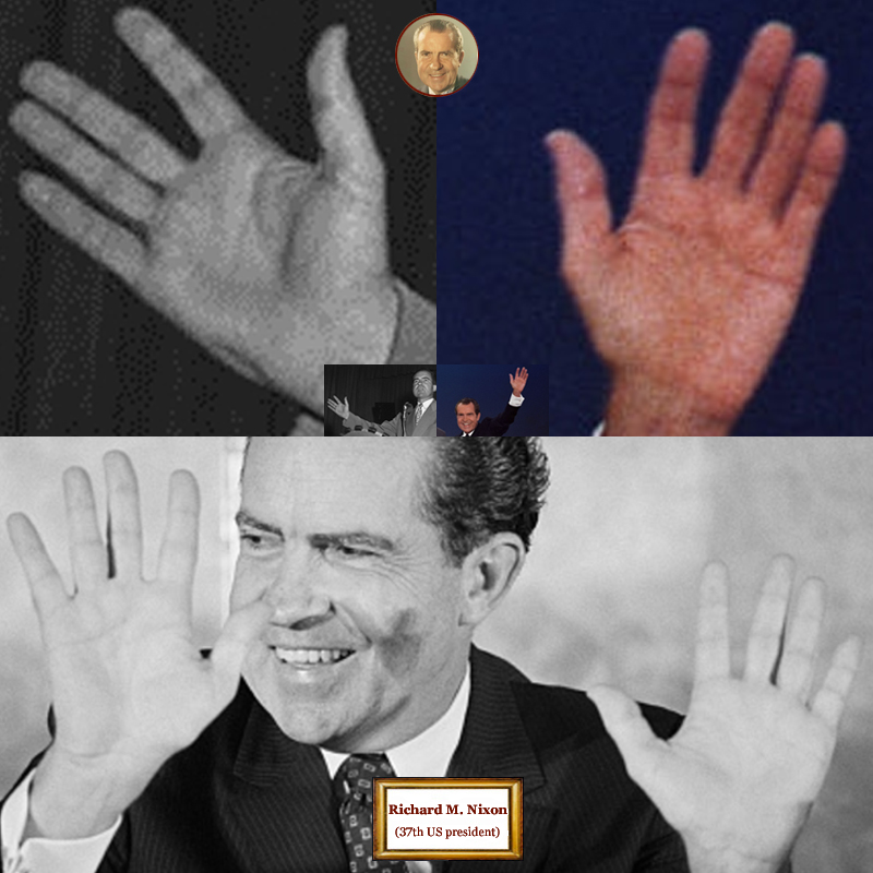 37Th US president Richard Nixon: 4 hand impressions.