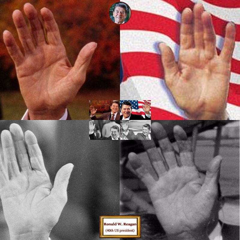 40Th US president Ronald Reagan: 4 hand impressions.