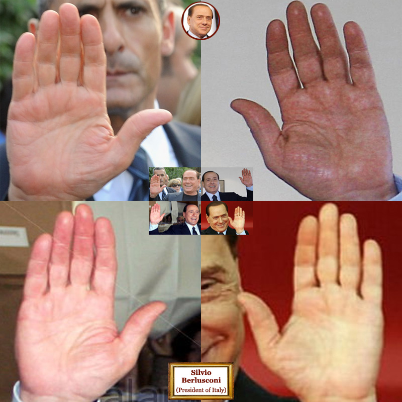 The hands of president of Italy Silvio Berlusconi: photo impressions.