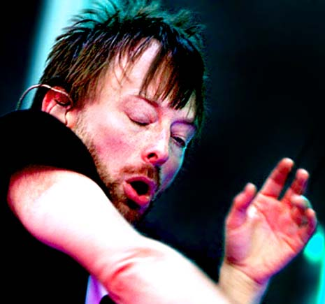 Thom Yorke's left hand is featured with a very short heart line! (broken heart line)