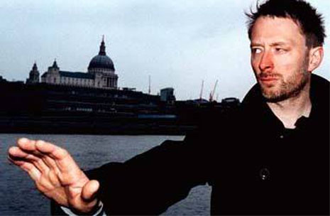 Thom Yorke's right hand is featured with a simian crease! (simian line)