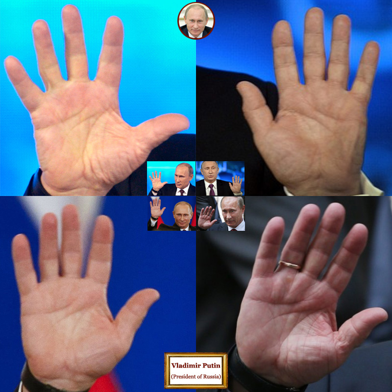The hands of Vladimir Putin, president of Russia: photo impressions.